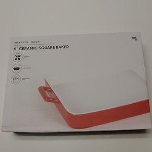"Sharper Image 8"" Ceramic Red Square Baker!!!"